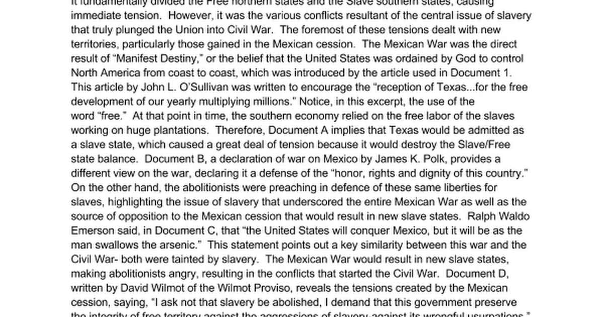 dbq essay on causes of the civil war Shsbarbourwikispacescom.