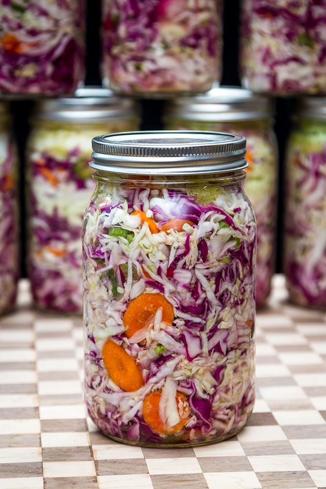 Homemade fermented vegetables in jars bring about a burst of nostalgia.