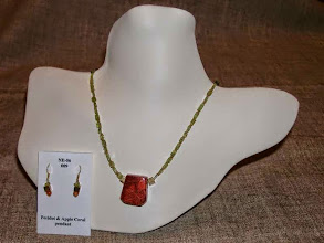 Photo: <BEREHYNYA> {Great Goddess Protectress} unique one-of-a-kind statement jewellery by Luba Bilash ART & ADORNMENT  Apple coral pendant, peridot, gold vermeil SOLD/ПРОДАНИЙ