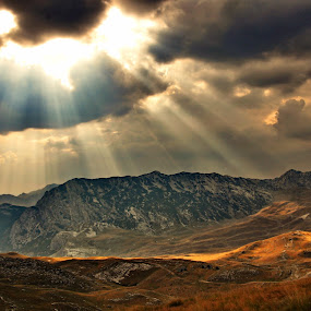 Golden rays by Zoran Stanko - Landscapes Travel ( montenegro, crna gora, weather, sunray, landscape )