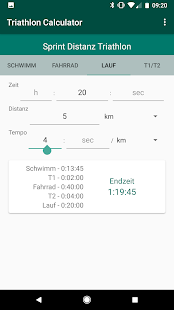 Triathlon Pace Calculator Screenshot