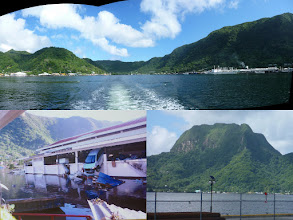 Photo: Pago Pago, AS - June 20, 2013 - [top] Panorama of Pago Pago Harbor with the tuna canneries on the right  [bl] The 2009 tsunami devastated the harbor  [br] Rainmaker Mountain looking cloudy ;(