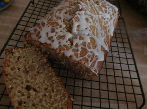 Spiced Applesauce Nut Bread W/ Honey Glaze Drizzle Recipe