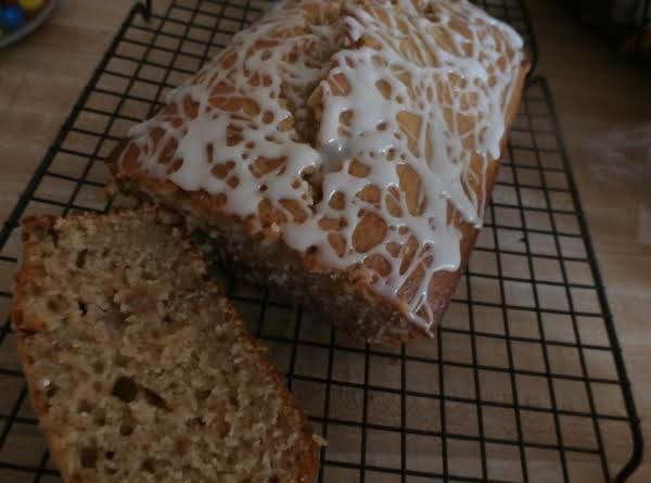 Spiced Applesauce Nut Bread W/ Honey Glaze Drizzle