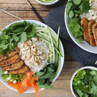 Vegan Vietnamese Brown Rice Noodle Salad with Sesame Tempeh Recipe