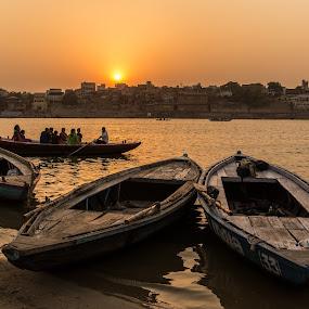 Sunset on Ganges by Avanish Dureha - Transportation Boats ( varansi, kashi, dureha@gmail.com, incredible india, banaras, avanish dureha,  )