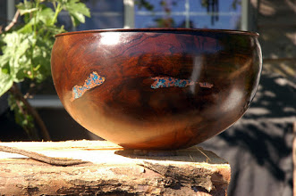 Photo: Black walnut bowl I just finished today, Copper and turquoise inlays. Still need to reverse turn tenon off bottom so it can be signed and dated.
