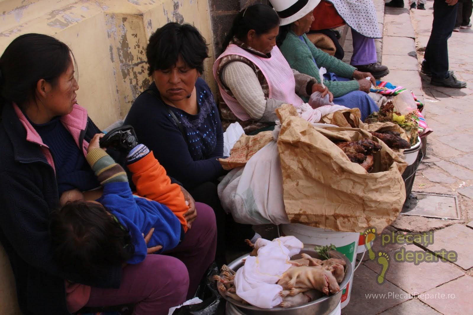 vanzatoare de porcusori de guineea in piata traditionala Mercado San Pedro, Cusco, Peru