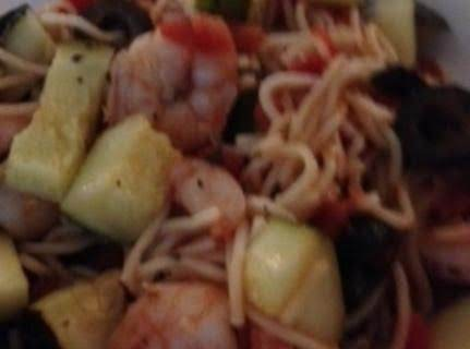 Shrimp With Lemon, Angel Hair Pasta And Zucchini