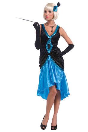 Flapperklänning, blå/svart