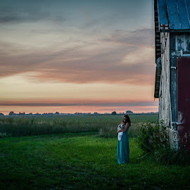 Old Time America by Becky Kauffman - Landscapes Sunsets & Sunrises ( #farm, #redbarns, #barn, #sunset )