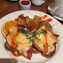 GF Eggs Benedict with prosciutto m, after I doused it with hot sauce. Would def get this again