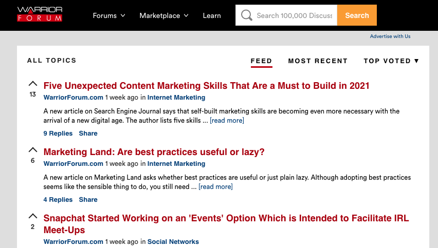 affiliate marketing forum warrior forum, featuring topics related to affiliate marketing