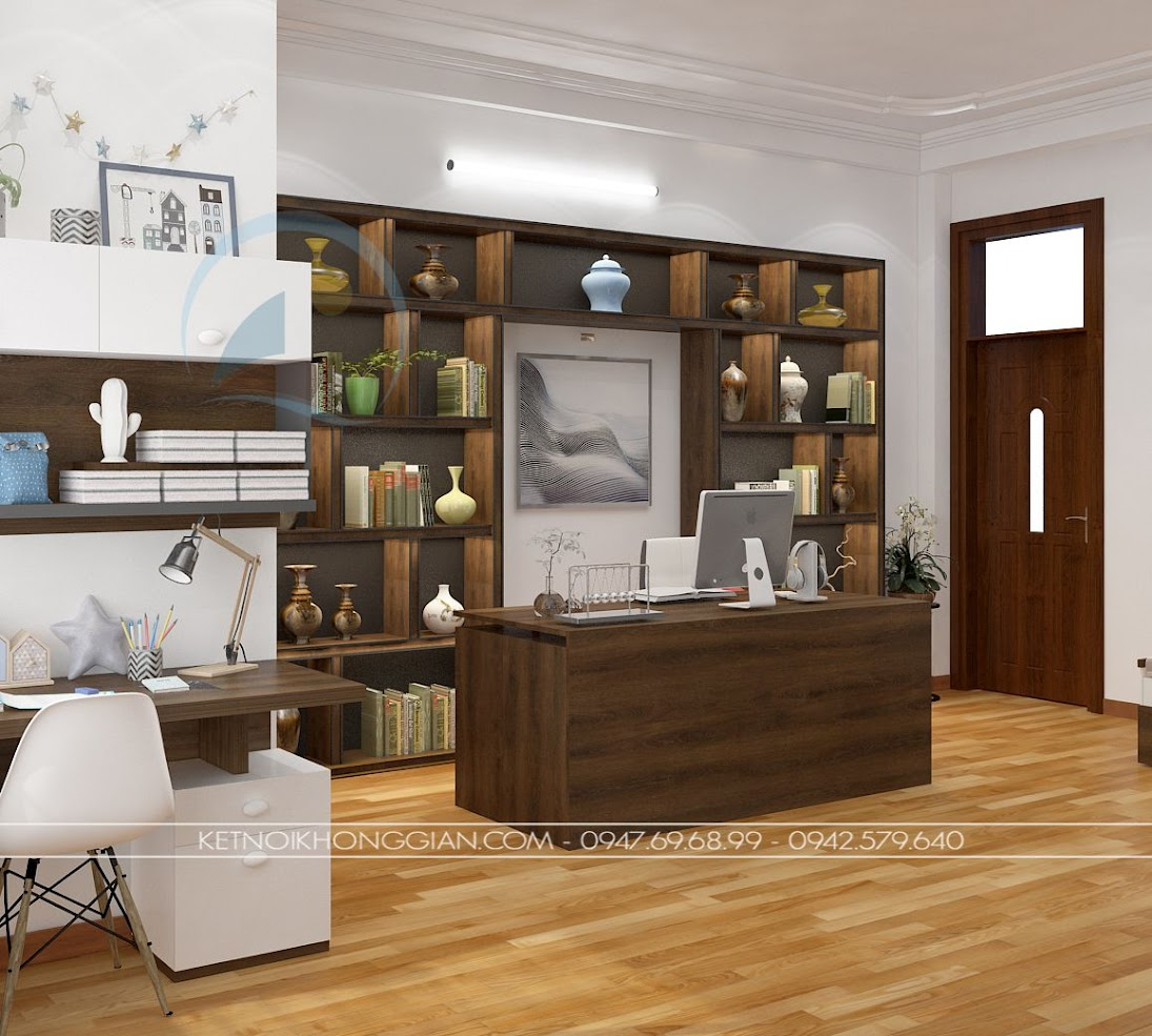 thiết kế phòng đọc sách kết hợp phòng làm việc và phòng học 6