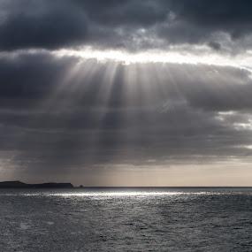 by Chloe Tatum - Landscapes Cloud Formations ( water, sea, sunlight, pwcsunbeams, dusk, coast, sun )