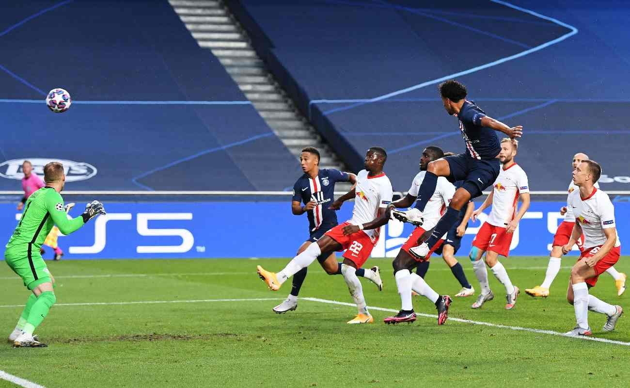 Marquinhos of PSG Heads the Ball into the Goals During the Semi-Final Game Against RB Leipzig