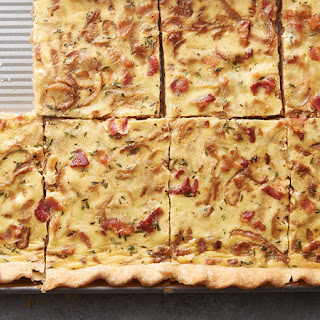 Caramelized Onion, Bacon and Swiss Cheese Slab Quiche.