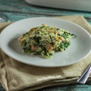 Spinach, Cauliflower Rice and Ham Casserole.