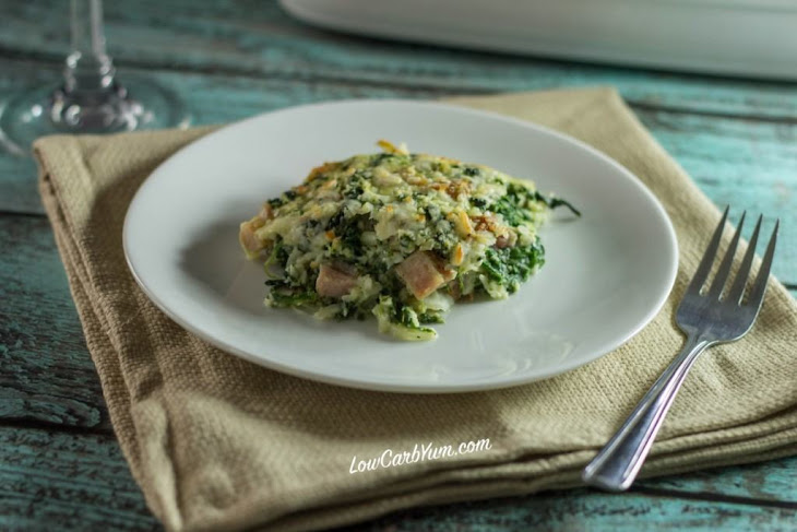 Spinach, Cauliflower Rice and Ham Casserole Recipe