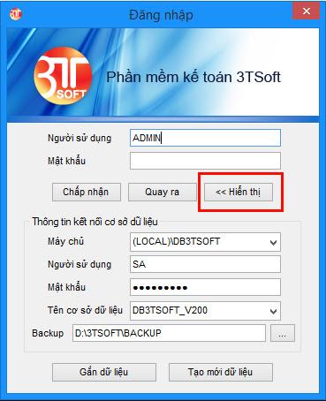 Giao diện chính phần mềm 3TSoft
