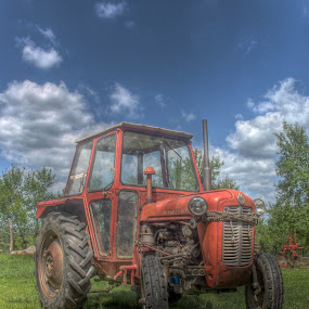 Red dragon :) by Darko Žgela - Transportation Other ( red, sky, hdr, tractor, photo,  )