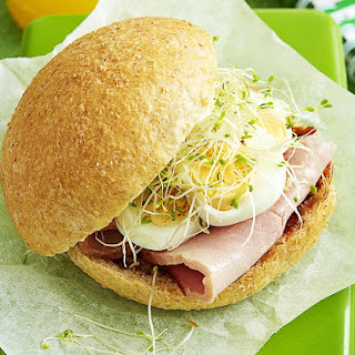 Ham and Hard Boiled Egg Breakfast Sandwich