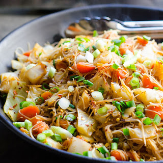 Cabbage and Carrots Stir Fry with Rice Noodles.