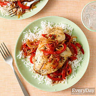 Tilapia with Spicy Red Pepper Sauce.