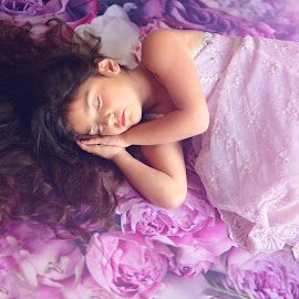 Hazy Dreams by Darya Morreale - Babies & Children Children Candids ( child, hair fanned out, girl, roses, sleeping )