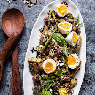 Grilled Potato Salad with Almond-Basil Chimichurri and 7-Minute Eggs.