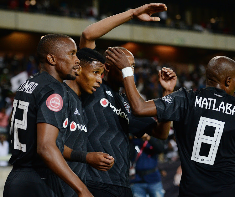 Orlando Pirates and Bafana Bafana winger Vincent Pule celebrates with teammates after scoring the opening goal in the 3-1 Absa Premiership win over SuperSport United at Orlando Stadium on Saturday September 15 2018.