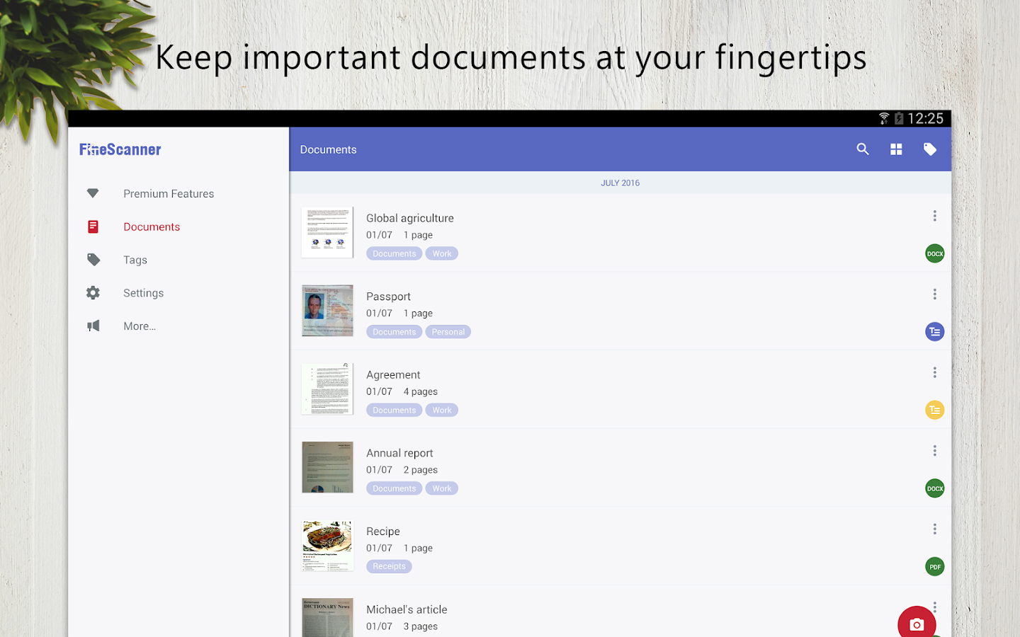 FineScanner - docs recognition- screenshot