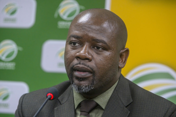 Cricket South Africa CEO Thabang Moroe speaks to the media during a media briefing at CSA Offices on July 17, 2018 in Johannesburg, South Africa.