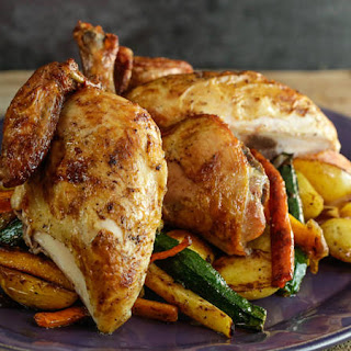Brined Roasted Chicken and Vegetables.