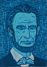 "Photo: Lincoln, 2012, 10.5 x 7"", reductive woodcut"