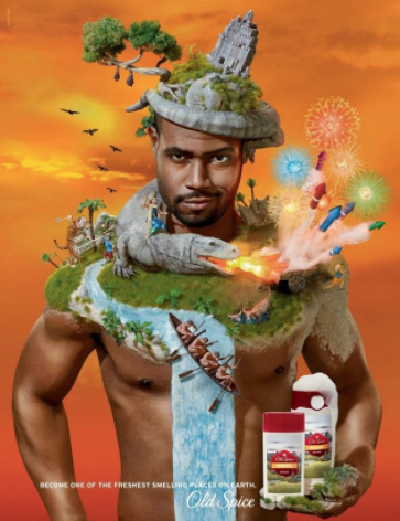 Old Spice ad: Isaiah Mustafa with Old Spice in hands