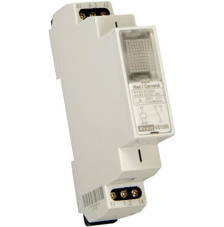 Relä VS116K, 230/24V, röd, 1 växl kontakt 16A, 1 modul