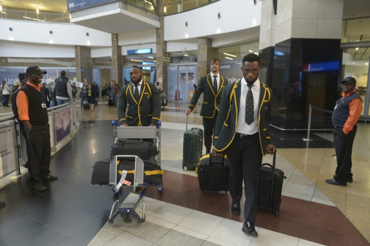 Tendai Mtawarira of the Springboks and Siya Kholisi of the Springboks during the South African national mens rugby team arrival at OR Tambo International Airport on August 29, 2017 in Johannesburg, South Africa.
