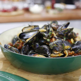 Tom Colicchio's Steamed Mussels with Chorizo.