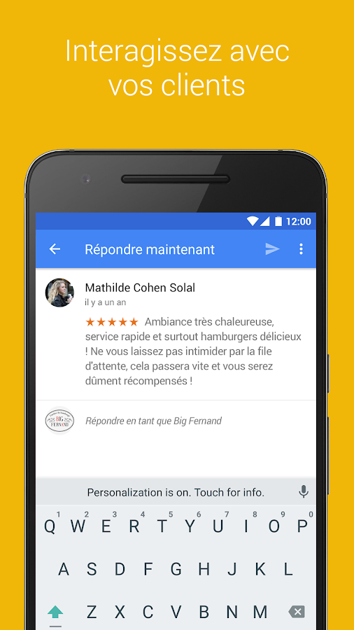 Google My Business – Capture d'écran