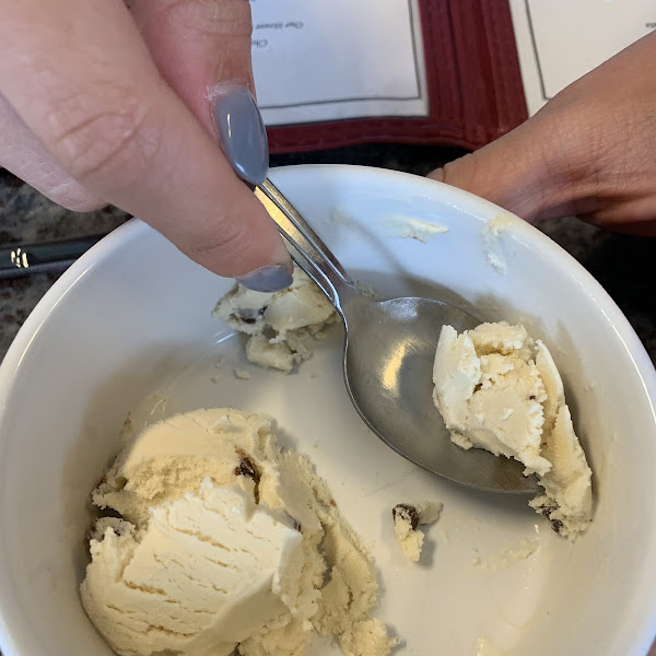 House made gelato which was mint chocolate chip with fresh mint. Outstanding!!