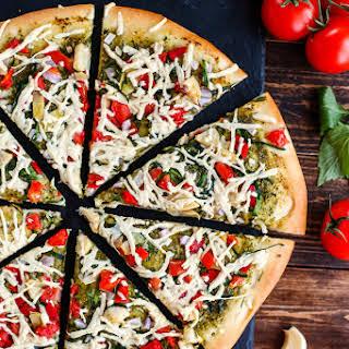 Vegan Mediterranean Pesto Pizza.