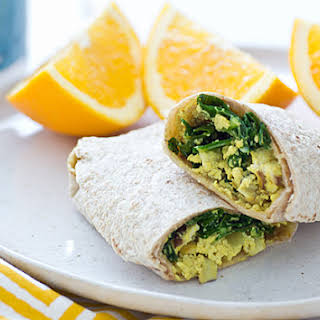 Freezer-Friendly Greens & Tofu Scramble Wraps.