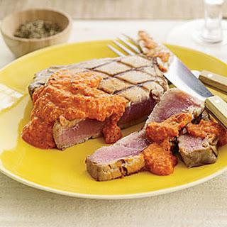 Grilled Tuna with Smoked-Almond Romesco Sauce.