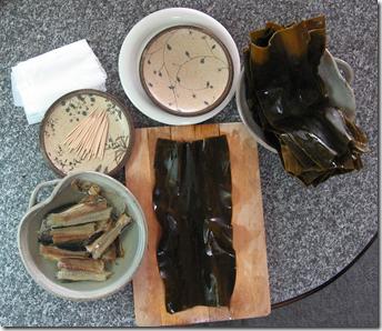 昆布巻きの材料と容器・用具