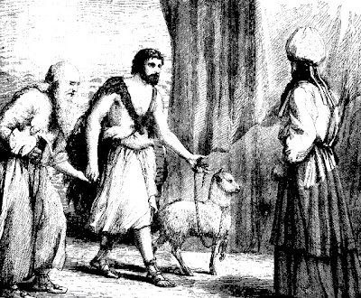 Bringing the lamb as an offering