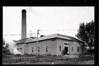Photo: Chatsworth Electric Light Plant - Built in 1894 by C.C. McDonald and Clyde Hayes. It was located just east of what is now the Radiator Repair Plus. In 1896, D.J. Stanford became propietor. L.A. Walter became a partner in the business and sold out his part in 1898 and the business was sold to C.I.P.S. Service ended at midnight until 1903, when we were granted all night service.