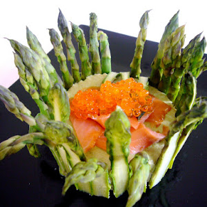 Asparagus Charlotte with Goat Cheese Mousse and Smoked Salmon