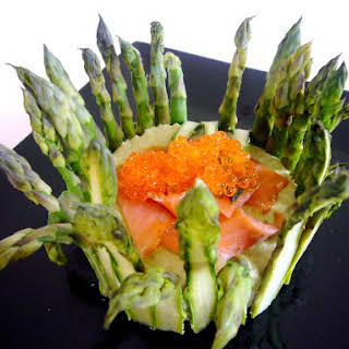 Asparagus Charlotte with Goat Cheese Mousse and Smoked Salmon.