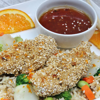 Peppered Oat Crusted Chicken with Orange Sauce